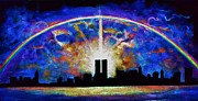 Twin Towers Trade Center Painting Metal Prints - Twin Towers Alive Again under black light Metal Print by Thomas Kolendra