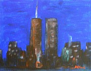 Puppies Paintings - Twin Towers by Buddy Paul