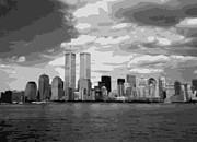 The Twin Towers Of The World Trade Center Digital Art Prints - Twin Towers BW10 Print by Scott Kelley