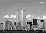 The Twin Towers Of The World Trade Center Digital Art Prints - Twin Towers BW12 Print by Scott Kelley
