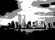 The Twin Towers Of The World Trade Center Prints - Twin Towers BW3 Print by Scott Kelley