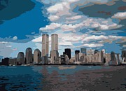 The Twin Towers Of The World Trade Center Digital Art Prints - Twin Towers Color 16 Print by Scott Kelley