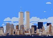 The Twin Towers Of The World Trade Center Digital Art Prints - Twin Towers Color 6 Print by Scott Kelley