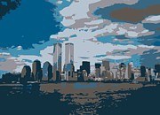 Twin Towers Trade Center Digital Art Metal Prints - Twin Towers Color 7 Metal Print by Scott Kelley