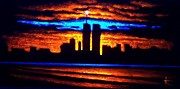 City Skylines Paintings - Twin Towers In Black Light by Thomas Kolendra