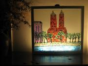 Paint Glass Art - Twin towers by Jeff Sie