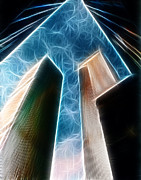 Fractalius Photo Framed Prints - Twin Towers Framed Print by Paul Ward