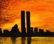Twin Towers Trade Center Painting Metal Prints - Twin Towers Silhouette Metal Print by Rita Tortorelli