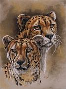 Cheetah Pastels Framed Prints - Twins Framed Print by Barbara Keith