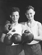 Embracing Prints - Twins In Boxing Gear Print by Harry Todd