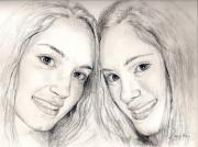Sisters Drawings - Twins by Janet Lavida