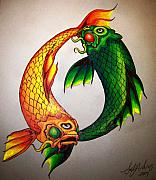 Koi Fish Drawings - Twins by Sally Siko