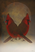 Red Cardinals Framed Prints - Twins Framed Print by Thomas York