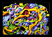 Colorful Reliefs Prints - Twisted Blackout Print by Jason Amatangelo