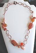 Orange Jewelry Originals - Twisted Copper and gemstone necklace by Diana Dearen