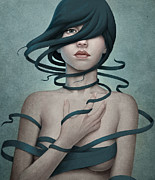 Surreal Portrait Framed Prints - Twisted Framed Print by Diego Fernandez