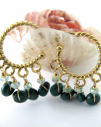 Beach Jewelry Originals - Twisted Gold Hoops With Chrysocolla And Praisiolite by Adove  Fine Jewelry