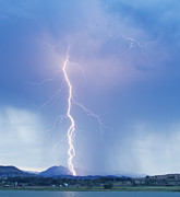Lightning Bolt Posters - Twisted Lightning Strike Colorado Rocky Mountains Poster by James Bo Insogna