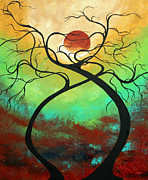 Silhouette Painting Posters - Twisting Love II Original Painting by MADART Poster by Megan Duncanson