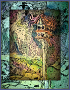 Mystical Landscape Mixed Media Posters - Twittering Muses Poster by Mindy Newman