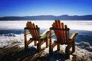 Empty Chairs Prints - Two Adirondack Chairs  Print by George Oze