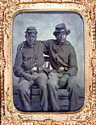 1860s Framed Prints - Two African American Soldiers Wearing Framed Print by Everett