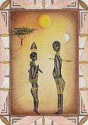 Figures Pastels Prints - Two African Figures and Tree Print by Sally Appleby