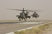 Attack Helicopters Framed Prints - Two Ah-64 Apache Helicopters Prepare Framed Print by Terry Moore