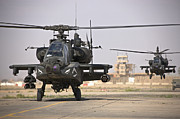 Attack Helicopters Framed Prints - Two Ah-64 Apache Helicopters Return Framed Print by Terry Moore
