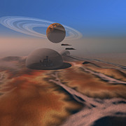 Planets Art - Two Aircraft Fly Over Domes by Corey Ford