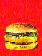 Hamburger Restaurants Art - Two All Beef Patties by Wingsdomain Art and Photography