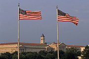 Two American Flags With Old Post Office Building Print by Sami Sarkis
