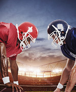 25-29 Years Art - Two American Football Players In Face-off by Paul Bradbury