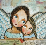 Angel Prints - Two Angels Print by Patti  Ballard