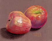 Crisp Drawings Prints - Two Apples Print by Donald Maier