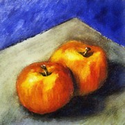 Apple Posters - Two Apples with Blue Poster by Michelle Calkins