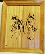 Scroll Saw Sculptures - Two Arabian Horses by Russell Ellingsworth