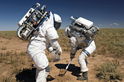 Samples Prints - Two Astronauts Collect Soil Samples Print by Stocktrek Images