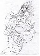 Koi Drawings - Two at War Line art for Xylem surfboards by Sally Siko