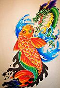 Koi Fish Drawings - Two at War by Sally Siko