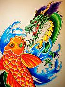 Koi Drawings - Two at War Up Close by Sally Siko