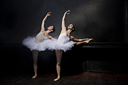 Ballet Dancer Photo Posters - Two Ballet Dancers Stretching Poster by Nisian Hughes