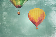 Balloon Art Print Prints - Two Balloon Sky Print by Andrea Hazel Ihlefeld