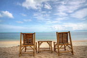 Outdoor Chair Posters - Two Bamboo Beach Chair Poster by Copyright Anek