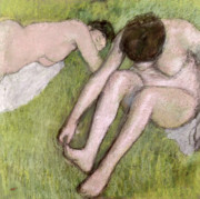 Bath Pastels Framed Prints - Two Bathers on the Grass Framed Print by Edgar Degas