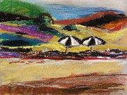 Umbrellas Pastels - Two Beach Umbrellas by John  Williams