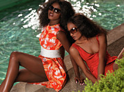 Women Together Photos - Two Beautiful Women in Dresses at the Pool by Oleksiy Maksymenko