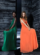 Orange Dress Prints - Two Beautiful Women in Elegant Long Dresses Print by Oleksiy Maksymenko