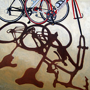 Linda Apple Metal Prints - Two Bicycles Metal Print by Linda Apple