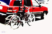 Artography Digital Art Acrylic Prints - Two Bikes Car Street Abstract Acrylic Print by Jayne Logan